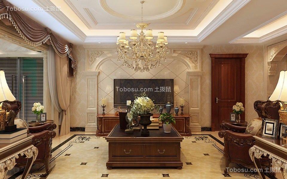 客厅咖啡色背景墙欧式风格效果图