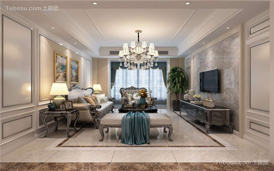 华冶万象公馆112m²三居室简欧风格装修效果图