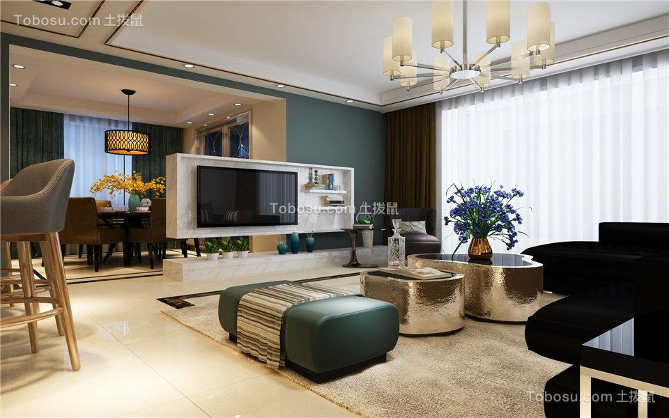 皖都徽韵119m²三居室现代风格装修效果图