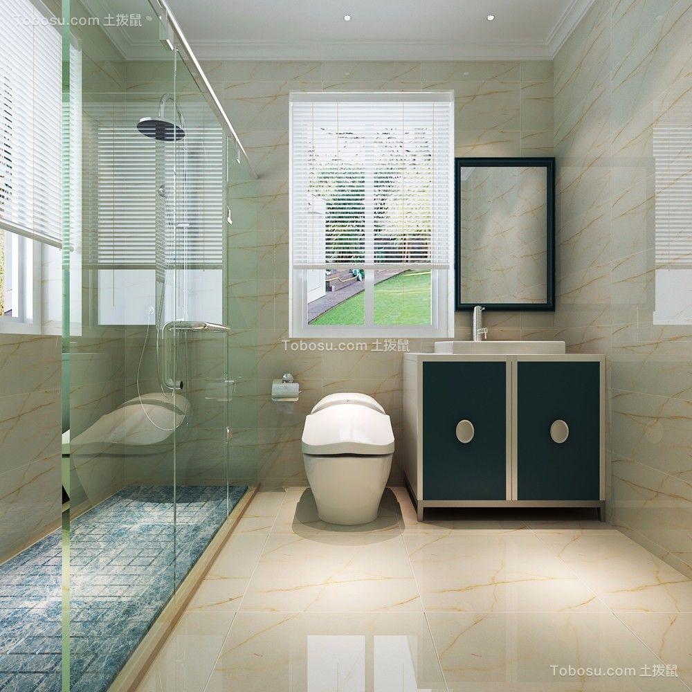 卫生间蓝色洗漱台现代简约风格装潢图片