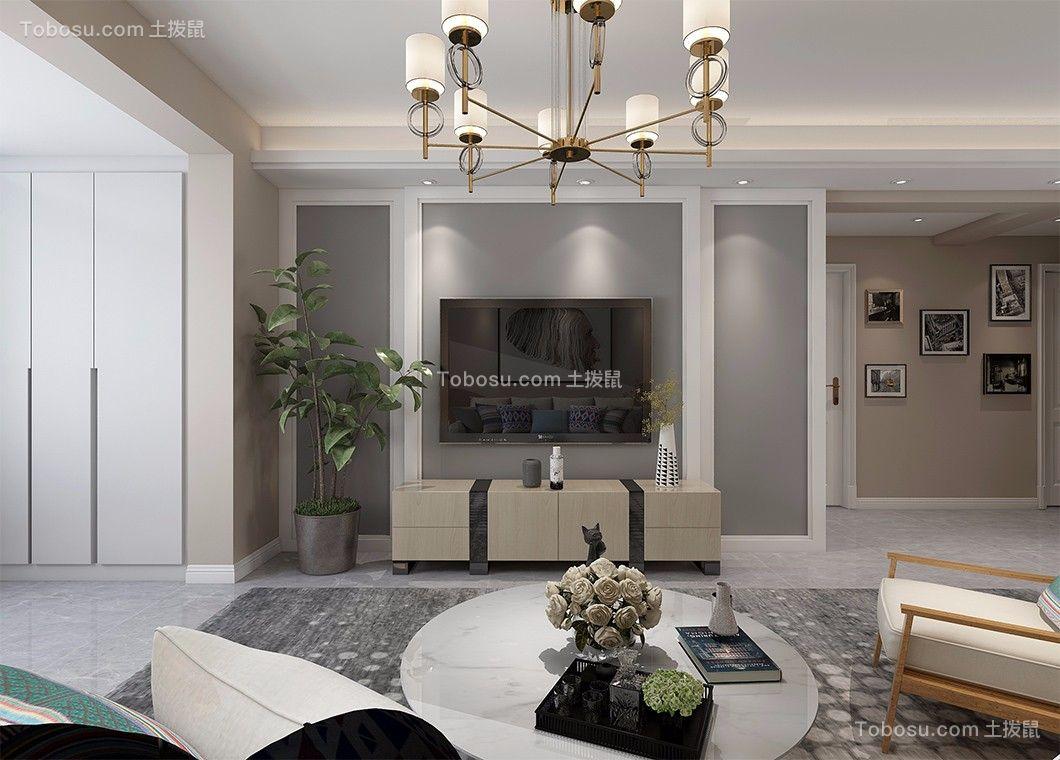 客厅灰色背景墙北欧风格装潢图片