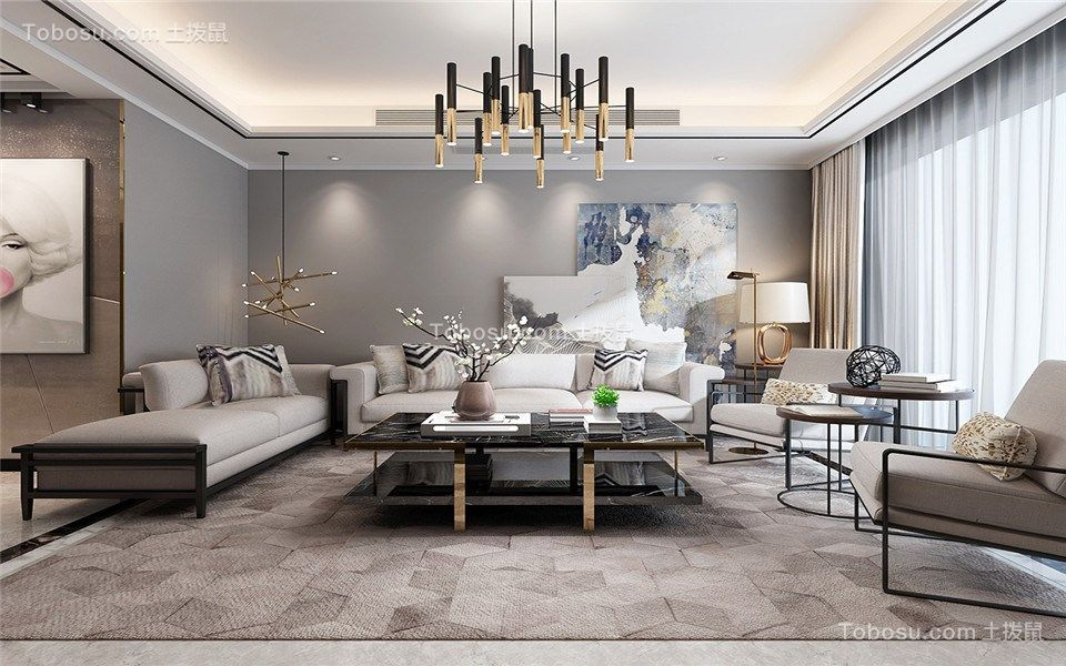 客厅灰色背景墙现代风格装潢效果图