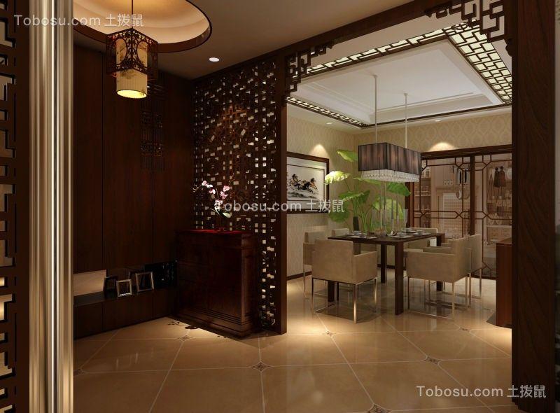 玄关橙色地砖现代中式风格装潢图片