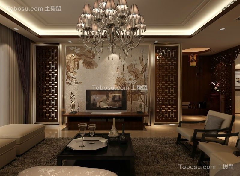 客厅灰色电视柜现代中式风格装修设计图片