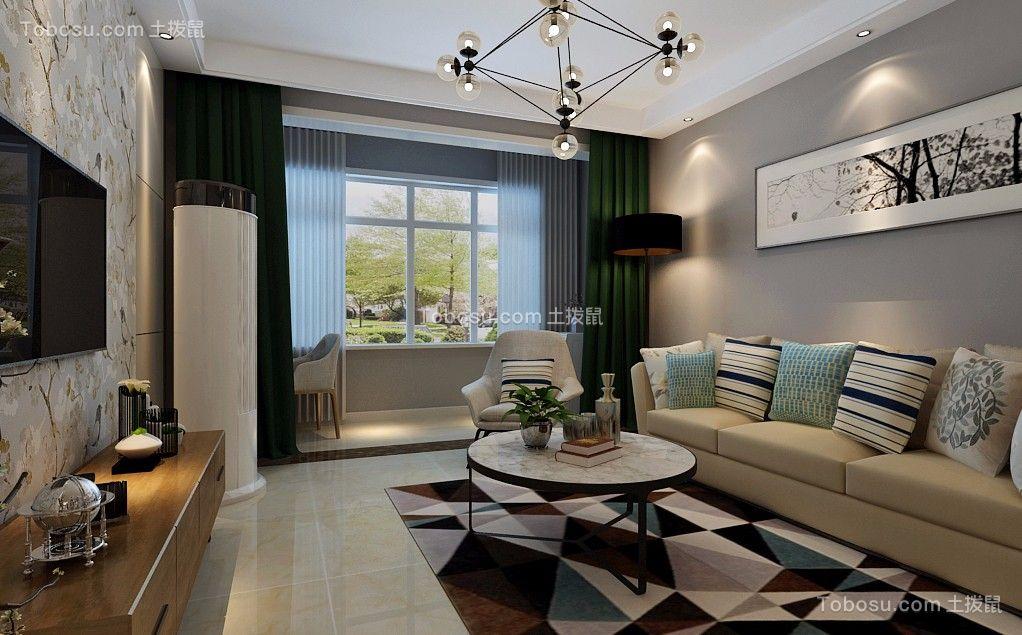 客厅白色地砖北欧风格装潢设计图片