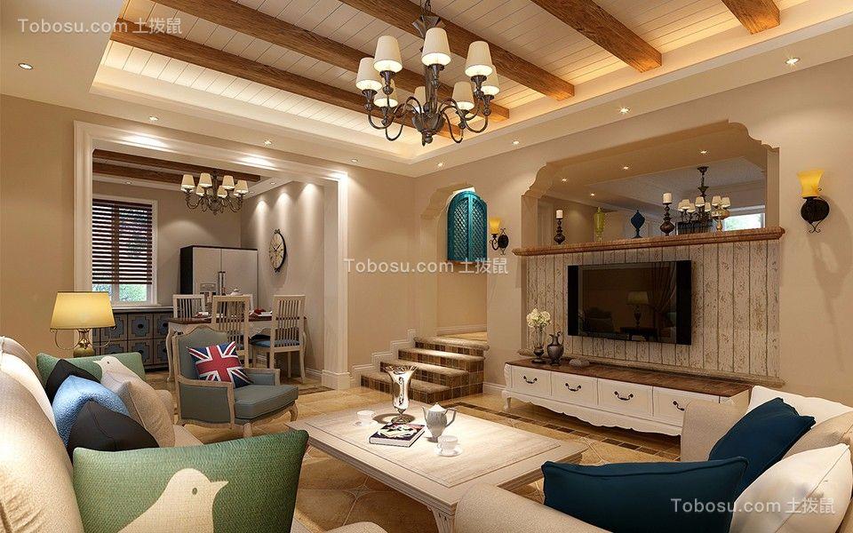 东海花园140平米四室二厅二卫美式风格装修效果图