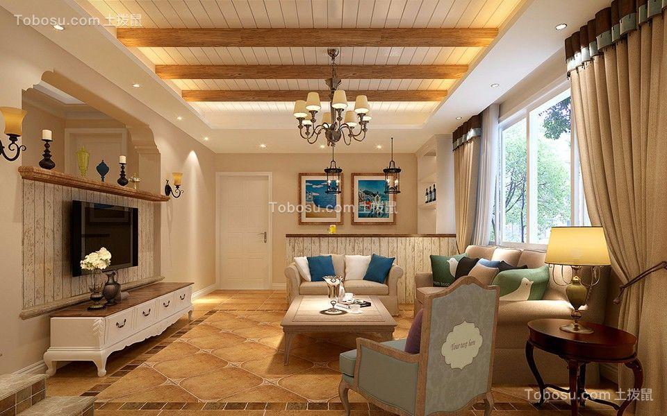 客厅黄色电视柜美式风格装潢图片