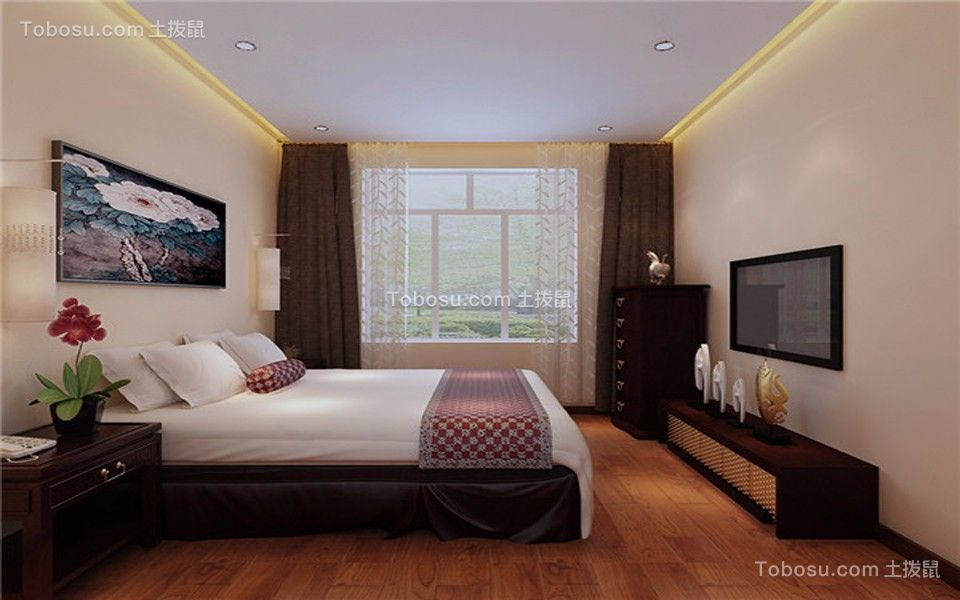 卧室咖啡色电视柜新中式风格装修设计图片