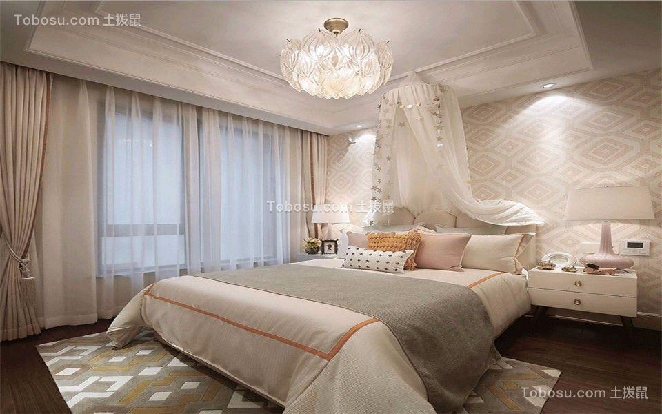 卧室 窗帘_紫金西苑130平米欧式三居装修效果图