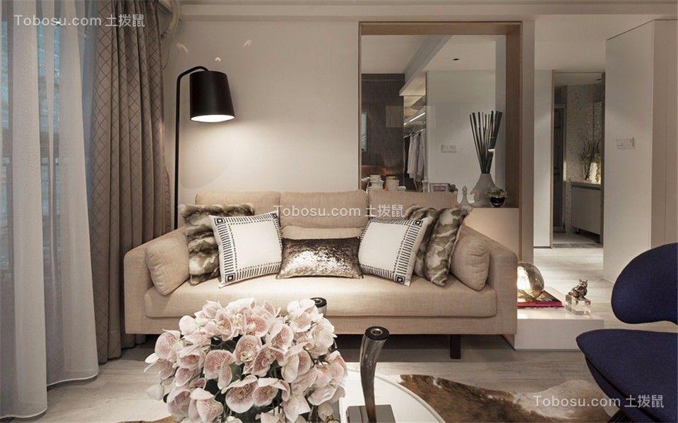 客厅灰色窗帘现代简约风格装饰图片