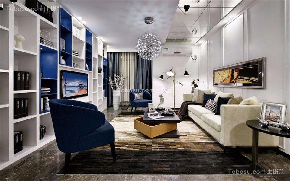 客厅灰色窗帘现代简约风格装潢设计图片
