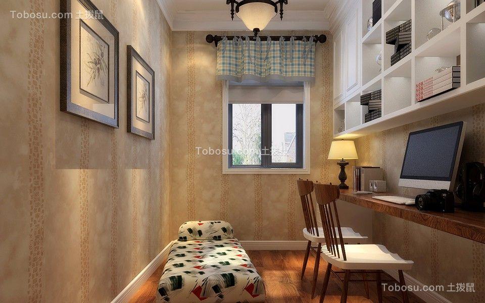 书房米色书桌美式风格装潢设计图片