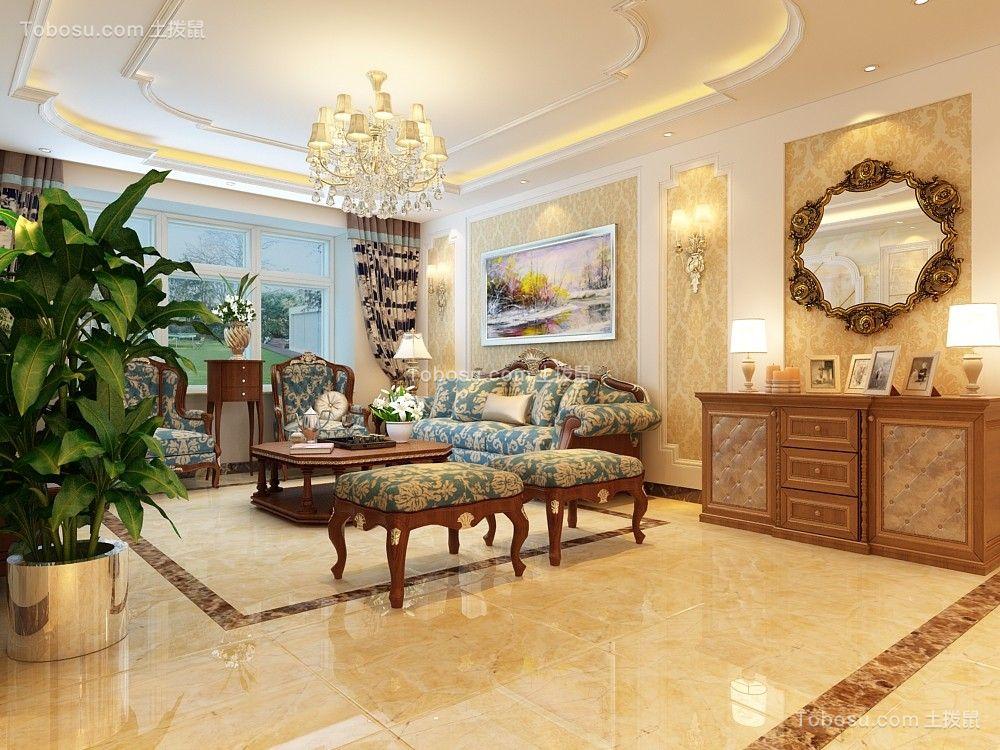 百步亭中国MALL135平三居室欧式风格装修效果图