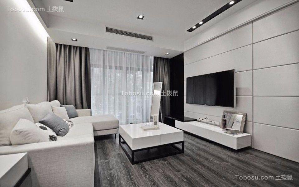 客厅白色吊顶现代简约风格装潢设计图片