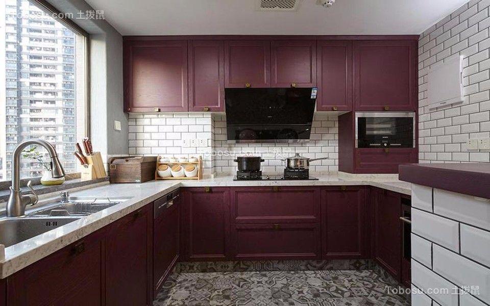 厨房 橱柜_新中式风格120平米三室两厅新房装修效果图