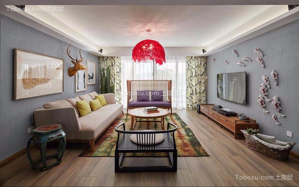 客厅 吊顶_景溪北苑120平米新中式三居装修效果图