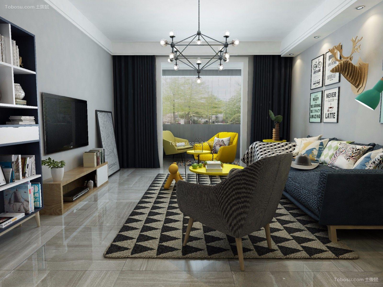 90m²北欧二室两厅装修效果图