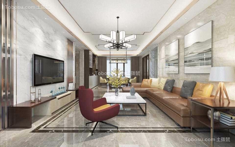 125平方现代简约三房两厅效果图