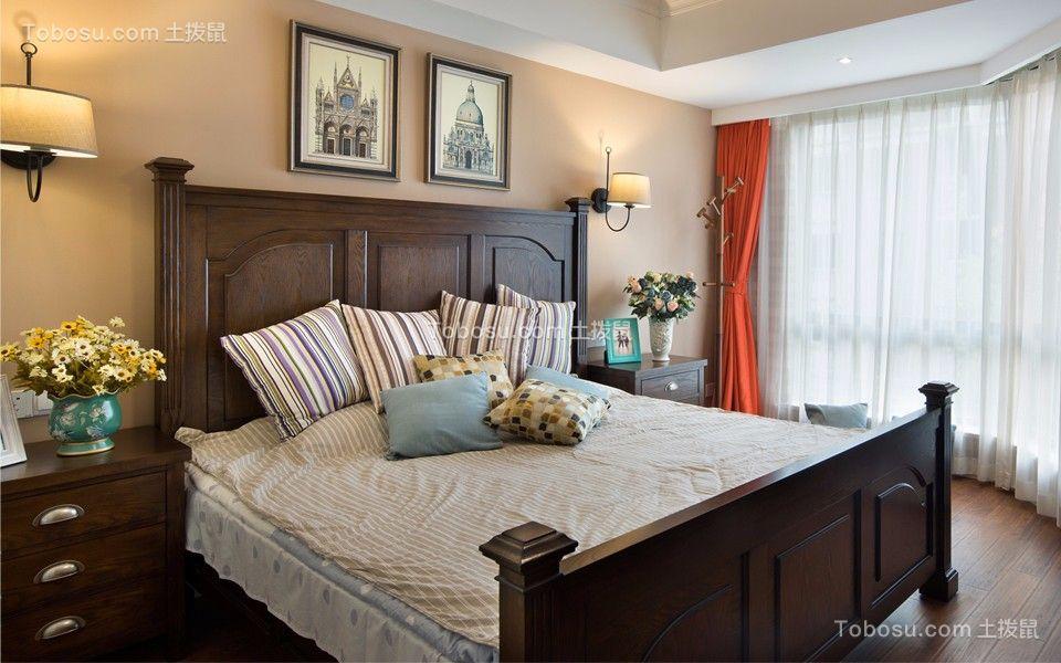卧室咖啡色床美式风格装饰效果图