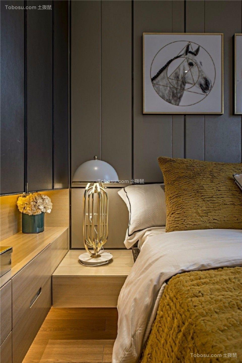 卧室咖啡色床头柜现代简约风格装修效果图