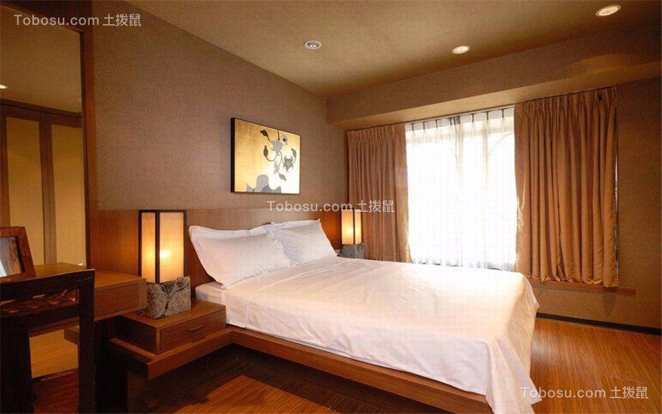 卧室灰色窗帘中式风格装饰图片