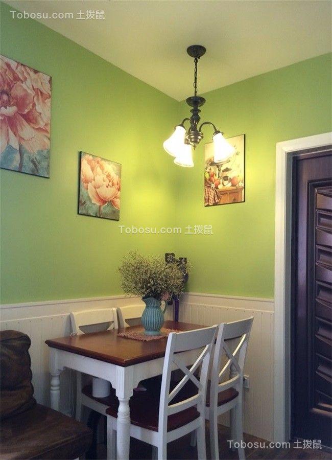 客厅绿色背景墙美式风格装修设计图片