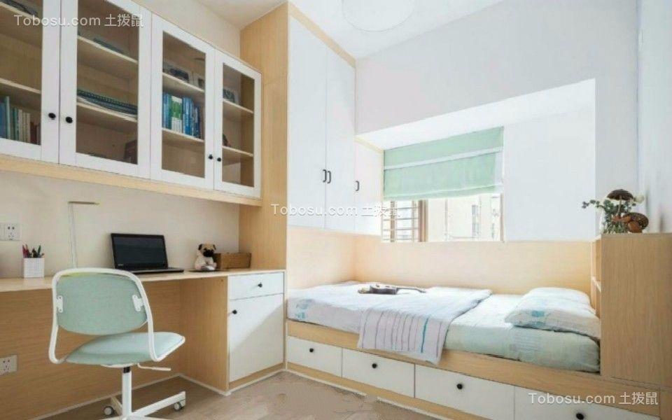 书房咖啡色书桌北欧风格装修图片