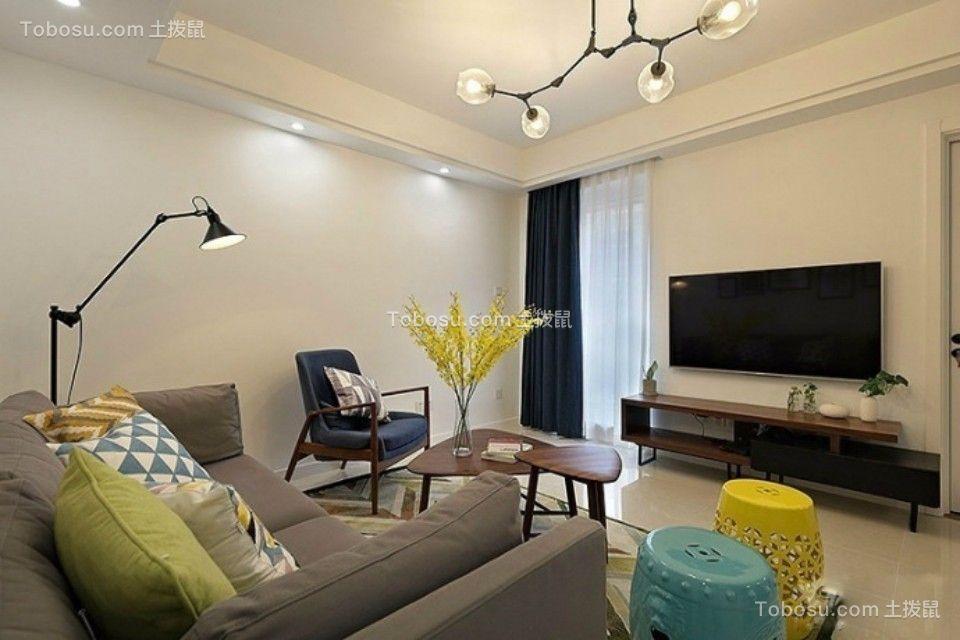 客厅咖啡色电视柜北欧风格效果图