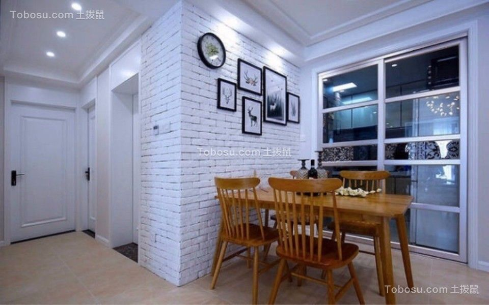 餐厅 餐桌_康桥新苑两室两厅96平北欧装修效果图
