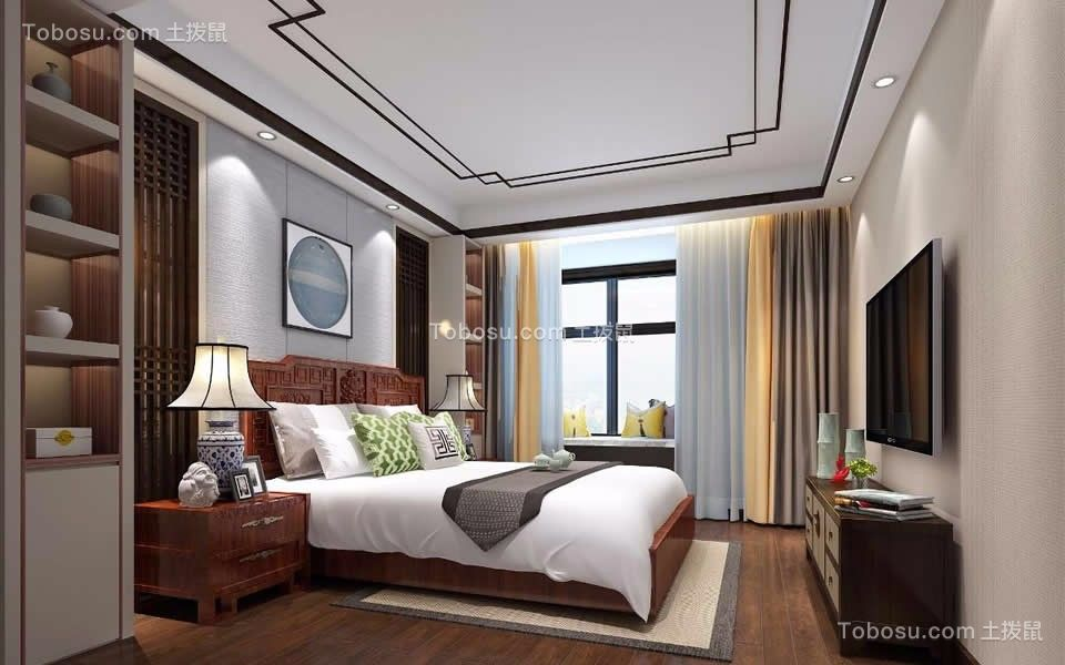 卧室咖啡色床新中式风格装潢设计图片