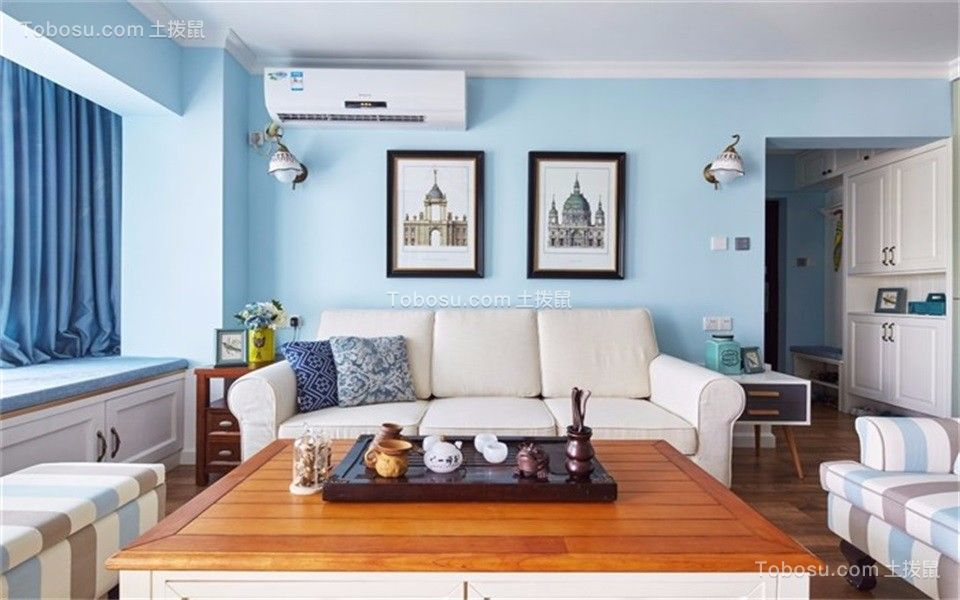 96平美式风格三居室装修效果图