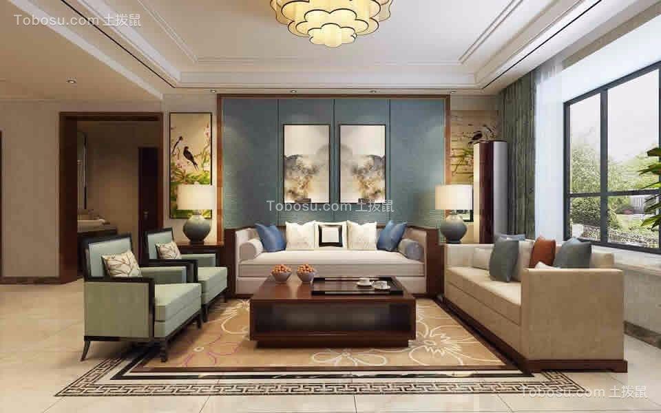 新中式风格130平米三室两厅新房装修效果图