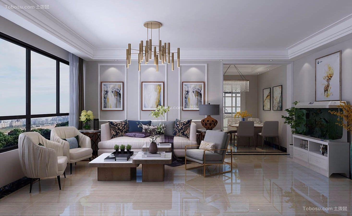 现代简约风格90平二居室装修效果图