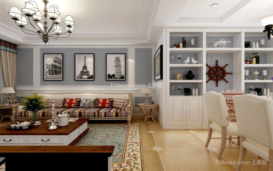 美式风格110平三居室装修效果图