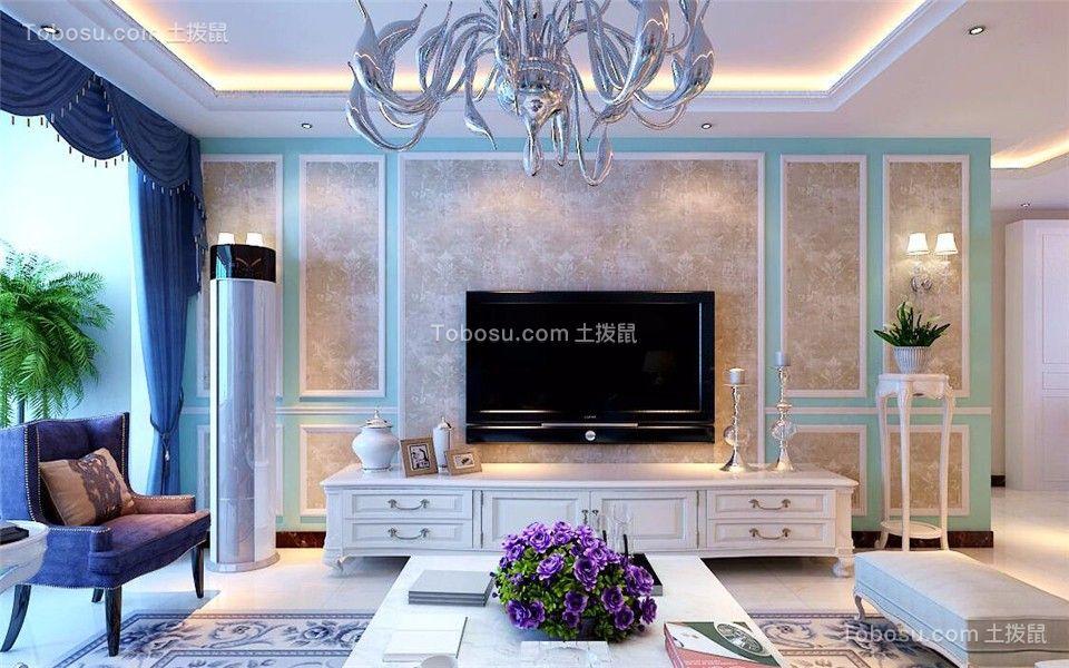 客厅绿色背景墙现代简约风格装修设计图片