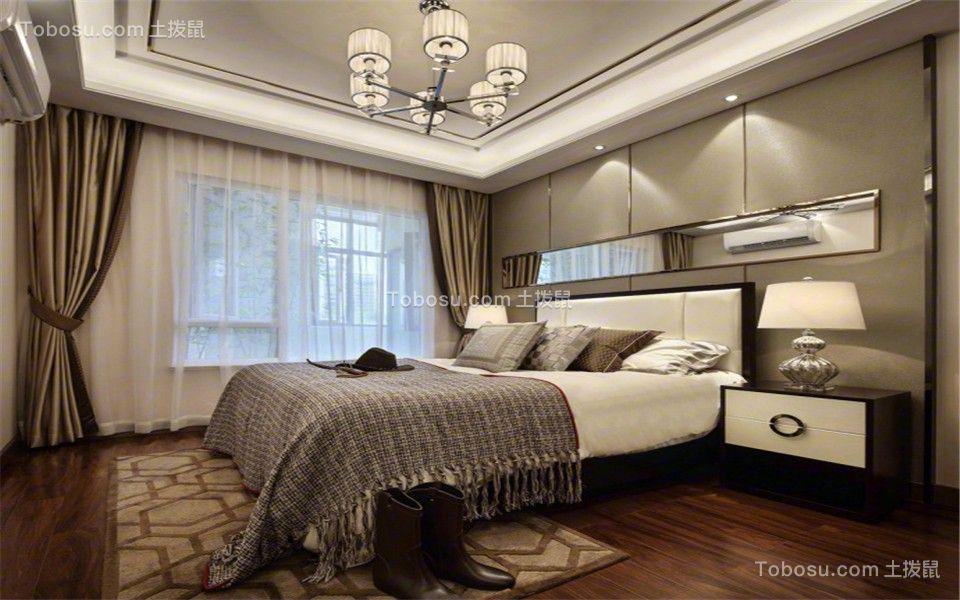 卧室咖啡色地板砖现代简约风格装潢设计图片