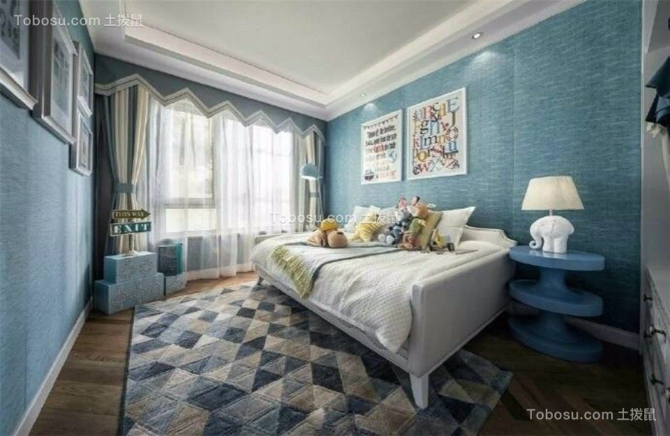 卧室蓝色照片墙欧式风格装饰效果图