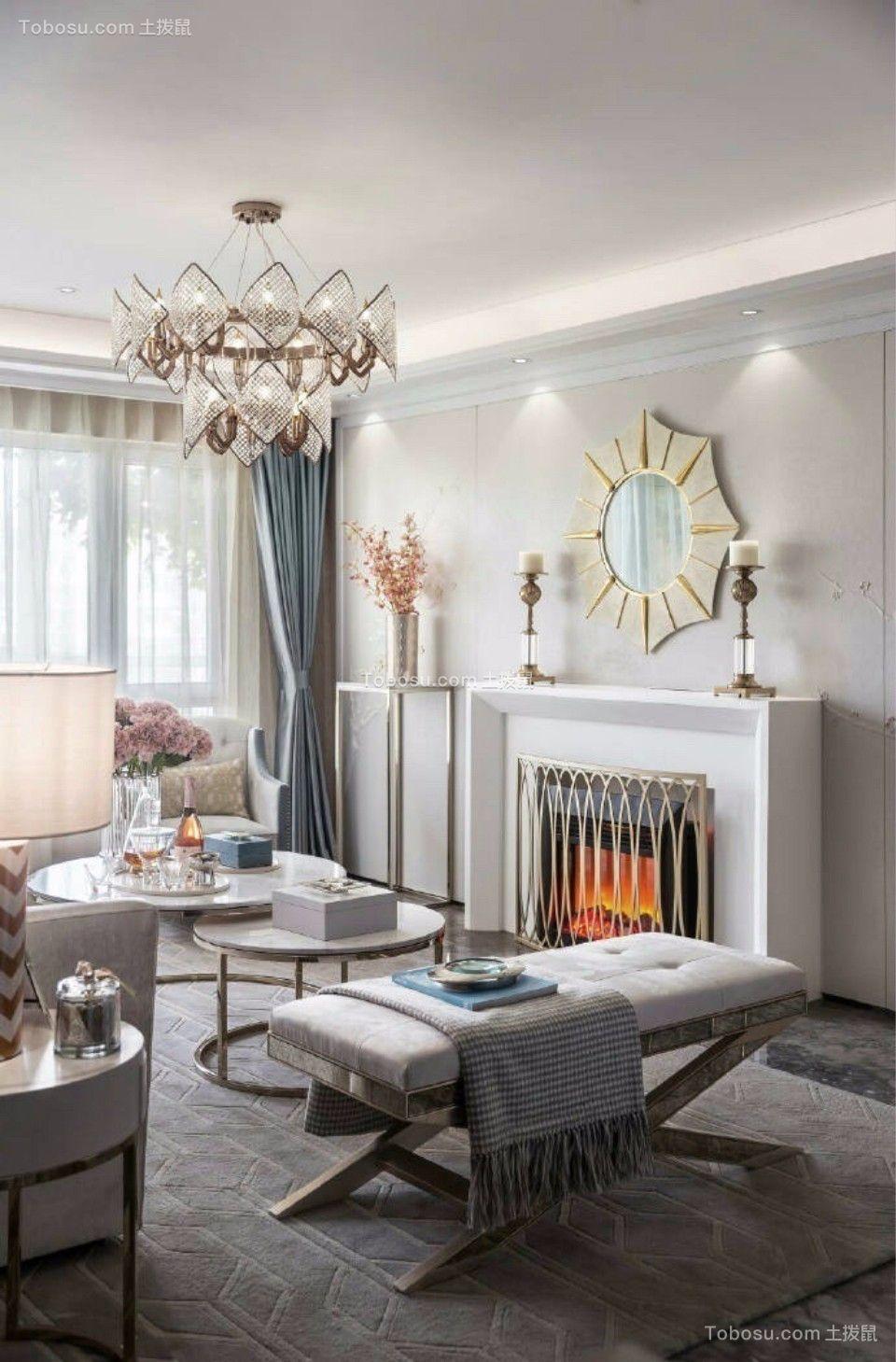客厅白色灯具欧式风格装修图片