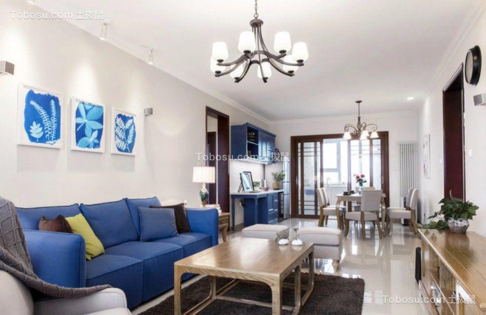 客厅白色灯具北欧风格装饰图片
