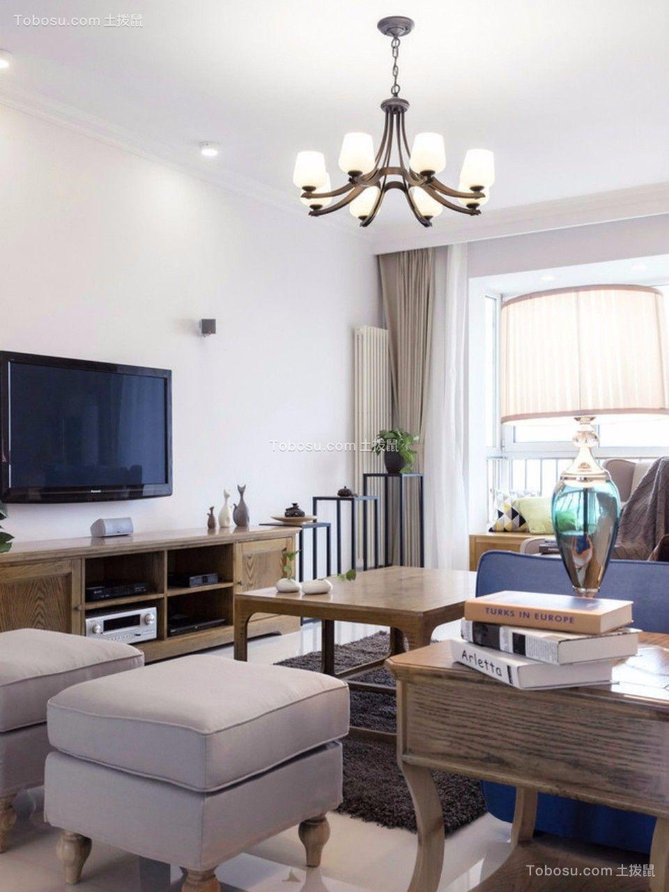 客厅咖啡色电视柜北欧风格装饰设计图片