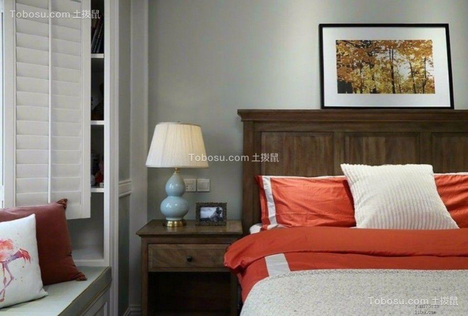 卧室咖啡色床头柜美式风格装饰设计图片