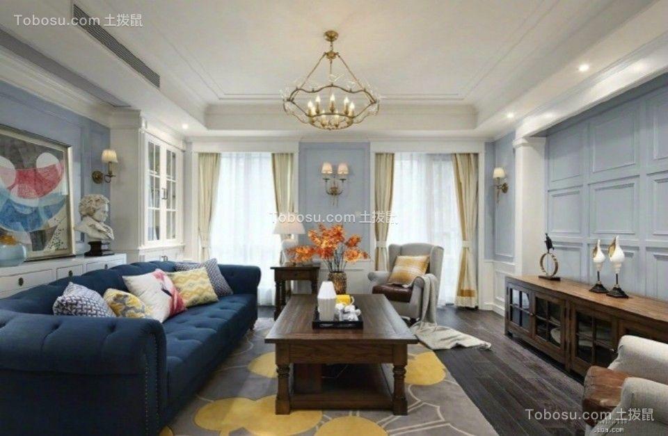 客厅咖啡色电视柜美式风格装修效果图