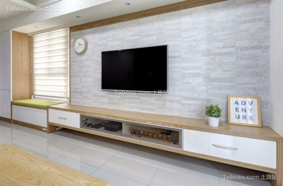 客厅咖啡色电视柜日式风格装修设计图片