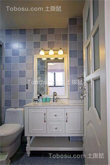 卫生间蓝色洗漱台混搭风格装修设计图片
