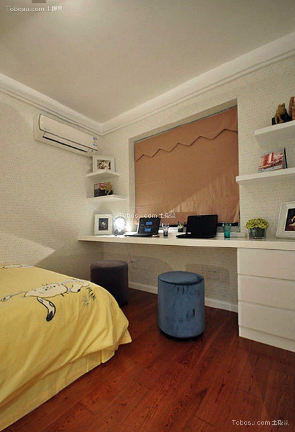 卧室白色书桌现代简约风格装潢设计图片