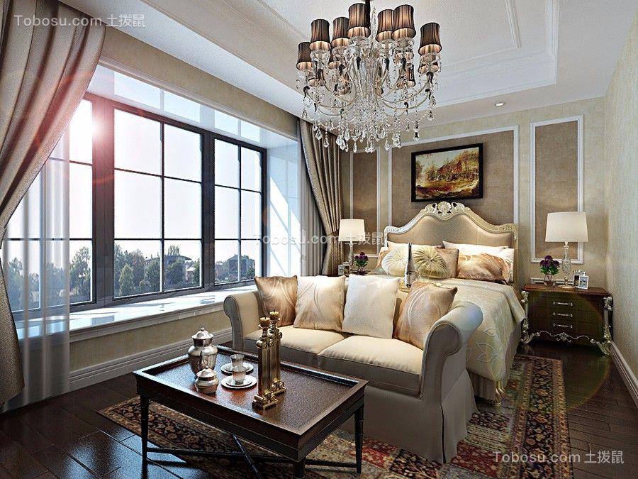卧室咖啡色背景墙欧式风格装潢效果图