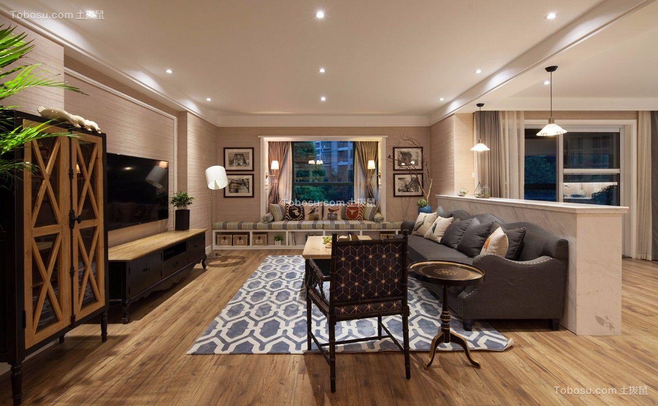 客厅咖啡色地板砖美式风格装修图片