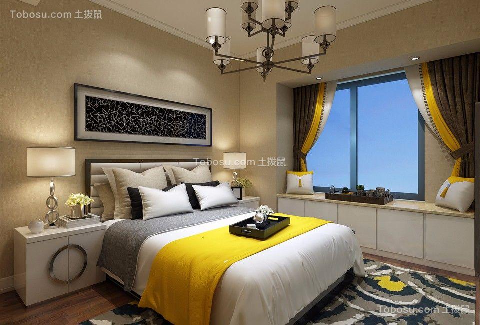 卧室咖啡色背景墙现代简约风格装潢效果图