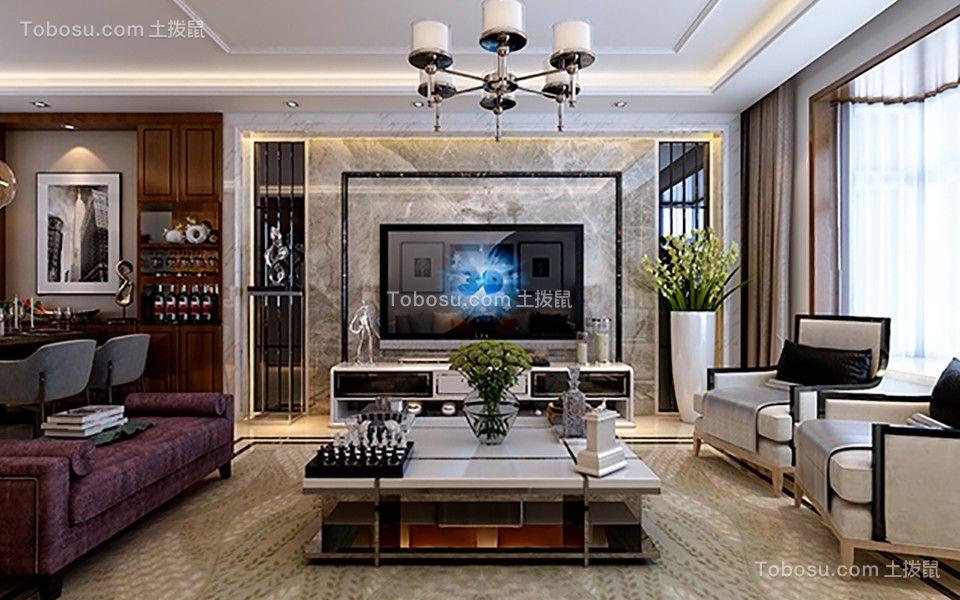 嘉怡国际丽都城135平米三居室简约风格装修效果图