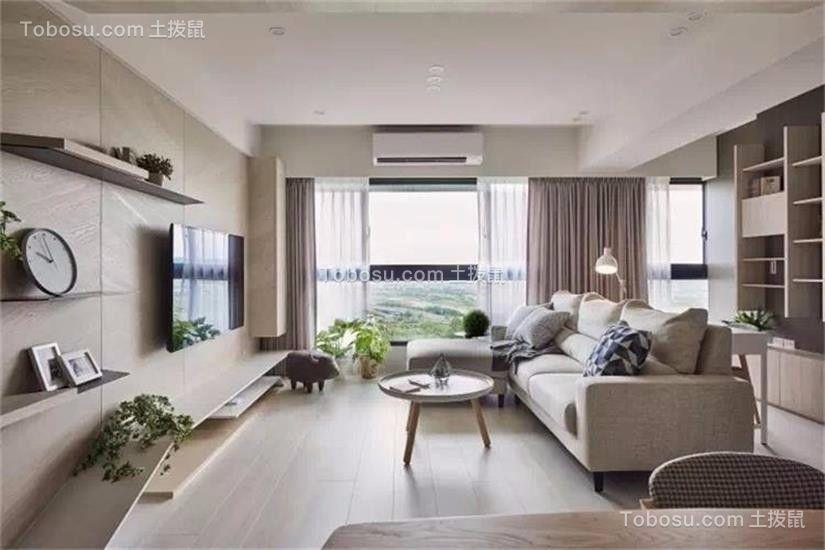 客厅灰色沙发日式风格装饰效果图